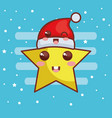 merry christmas star with hat character vector image