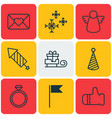set of 9 celebration icons includes archangel vector image