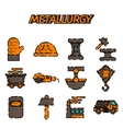 Metallurgy flat icon set vector image