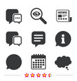 Chat icons comic speech bubble signs think vector image