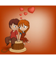 Boy and girl are sitting vector image vector image