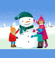 Children and snowman vector image vector image