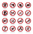 prohibition sign and icons vector image vector image
