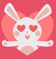 Cute Bunny Crazy in Love Inside Heart vector image