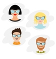 Avatar people icon set Cute cartoon character vector image