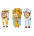cartoon arabian and egyptian character set vector image