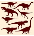 Dinosaurs fossil reptiles silhouettes vector image