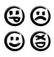 hand drawn set of emoji vector image