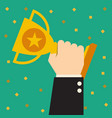 trophy businessman showing success vector image