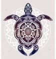 Ornate turtle in tattoo style vector image