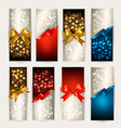 Gift cards with gift bows with vector image vector image
