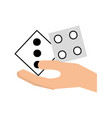 hand human with casino dices vector image
