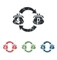 Dollar ruble grunge icon set vector image