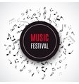 Abstract musical concert flyer with black notes on vector image