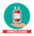 blood bag and hand of donor vector image