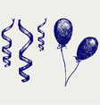 Curling Stream and balloons vector image