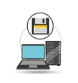 backup floppy laptop data server vector image