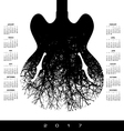 A 2017 calendar with a stunning image of a guitar vector image