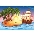 the island with the explorer ship vector image