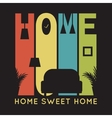 Home card with apartment icons t-shirt graphics vector image vector image