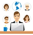 freelancer working in collaboration with coworkers vector image