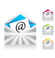 Set envelopes with silver rays and symbol email vector image