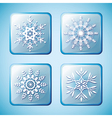 Set of winter icons with snowflakes vector image