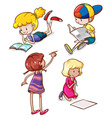 Simple sketches of kids reading and writing vector image