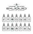 Vape shop e liquid flavors icons vector image