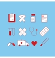 Set of 12 cartoon-style medical icons colored on vector image