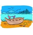 Sailing boat hand drawn vector image vector image