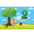 Flashcard number 2 with two children in the park vector image