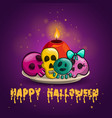 card with sculls and candle vector image
