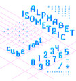 isometric font alphabet abc from blue cubes vector image