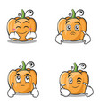 set collection pumpkin character cartoon style vector image