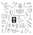 Sketch of medicine icons for hospital vector image