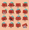 wallet character emoji set vector image