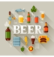 Background design with beer icons and objects vector image