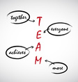 Word spell TEAM handwritten on board vector image vector image