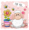greeting card cute cartoon sheep with flower vector image