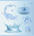 set of water transparency splashes water crown vector image
