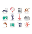 farming industry and farming tools icons vector image