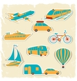 Set of tourist transport stickers vector image vector image