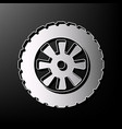 road tire sign  gray 3d printed icon on vector image