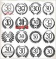 30 years anniversary laurel wreaths vector image