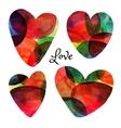 Set of watercolor hearts Happy Valentine day vector image