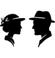 retro man and woman face profiles vector image vector image