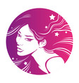 beautiful girl with long pink hair decorative vector image