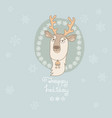 christmas greeting card with cute deer and vector image