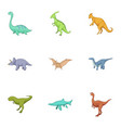 dinosaurs icons set cartoon style vector image